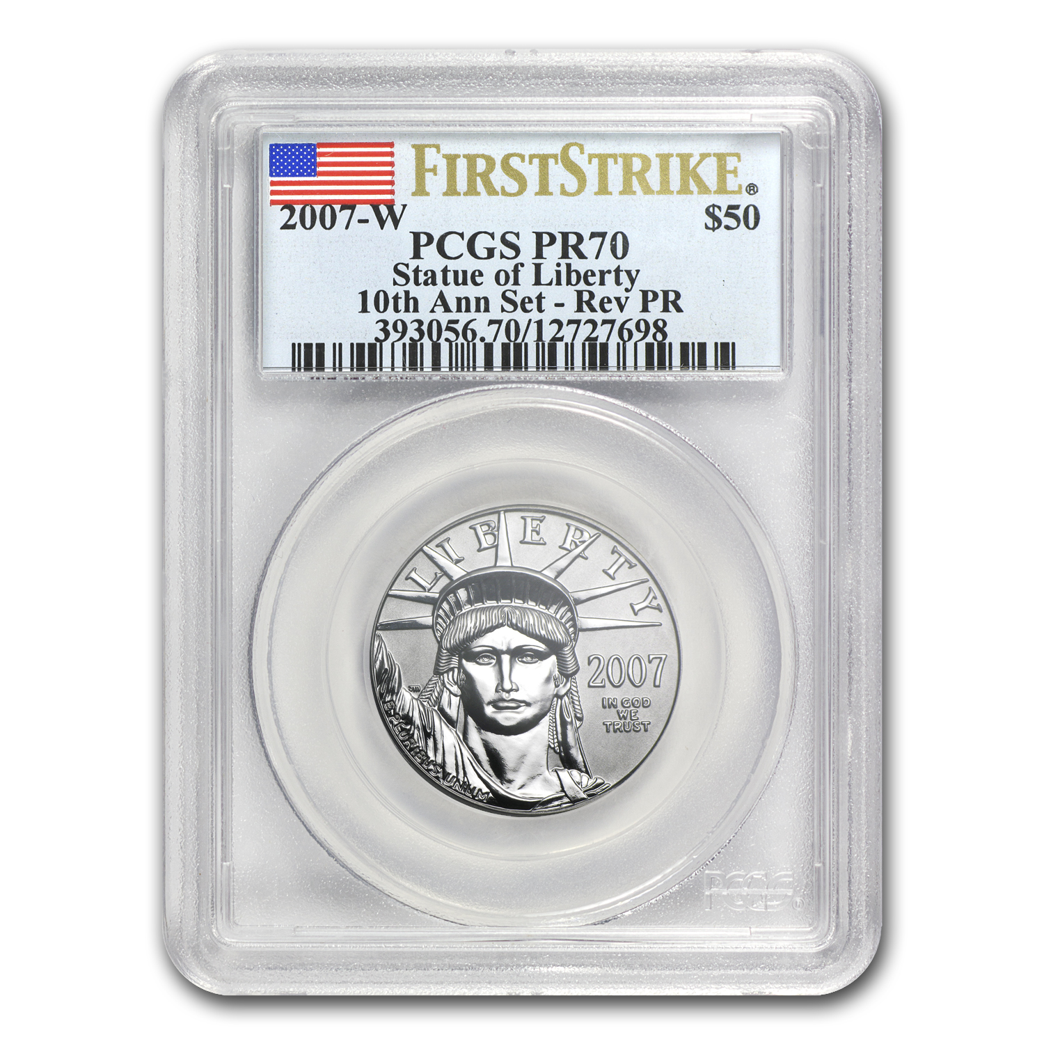 2007-W 1/2 oz Reverse Proof Platinum Eagle PR-70 PCGS (FS)